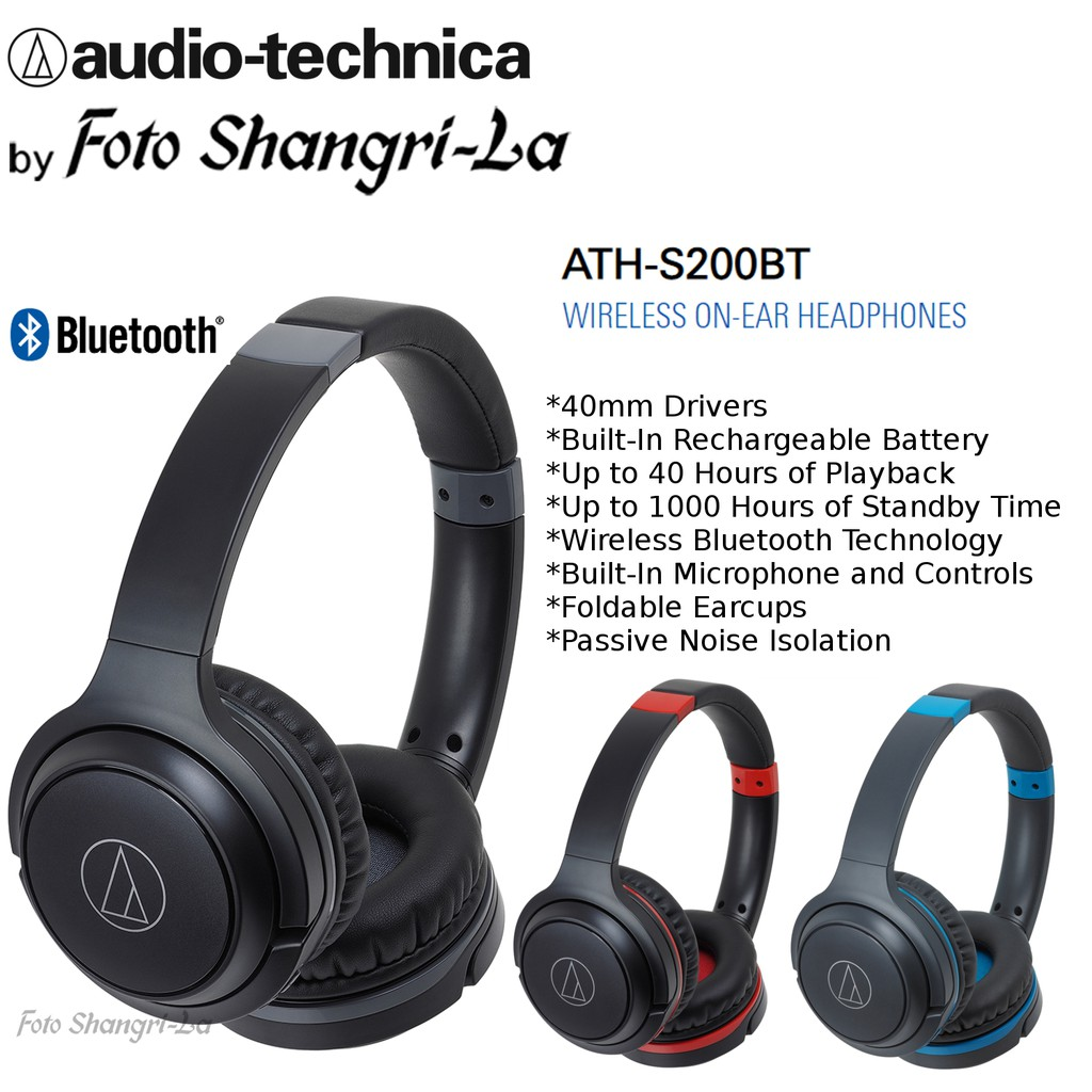 4d51b8346a0 Audio Technica ATH-S200BT Bluetooth Wireless On-Ear Headphones with Built-In  Mic | Shopee Malaysia