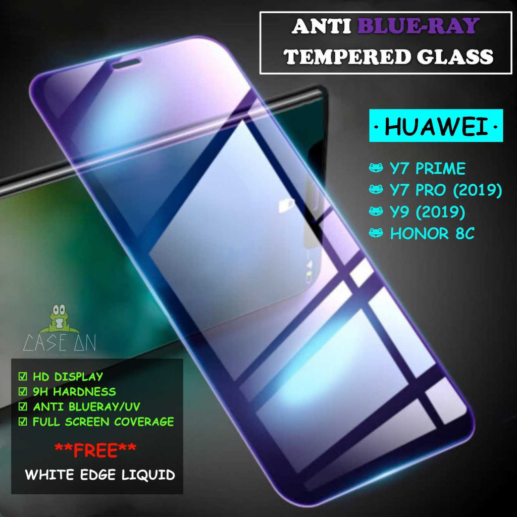 Huawei Y7 Prime / Y7 Pro (2019) / Y9 (2019) / Honor 8C Anti Blue Ray Full  Tempered Glass Screen Protector