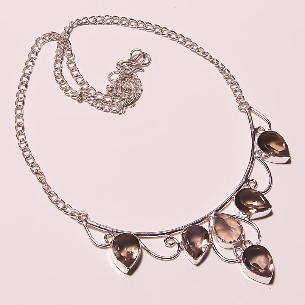 Green Peridot Quartz Sterling Silver Overlay Necklace 17-18 Handmade Jewelry