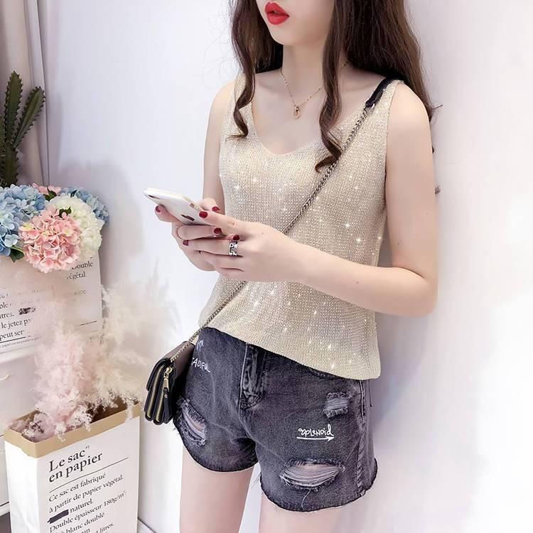 ❅♧✹Bright silk rhinestones knitting ice condole belt vest within 2019  summer new loose women render unlined upper garme