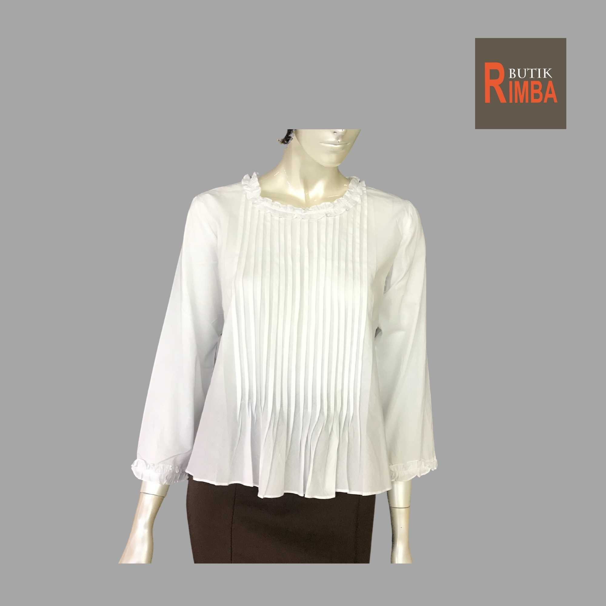 WOMEN CASUAL AND COMFORTABLE WHITE BLOUSE COTTON FREE SIZE PATTERN 09