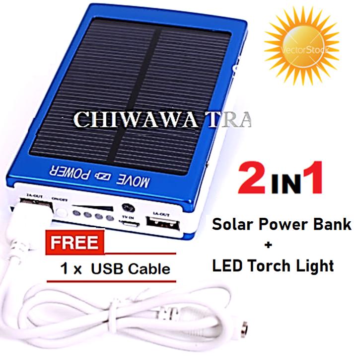 TX11【Free Gift : USB Cable】30000mAh Solar Power bank + Light + Money Checker