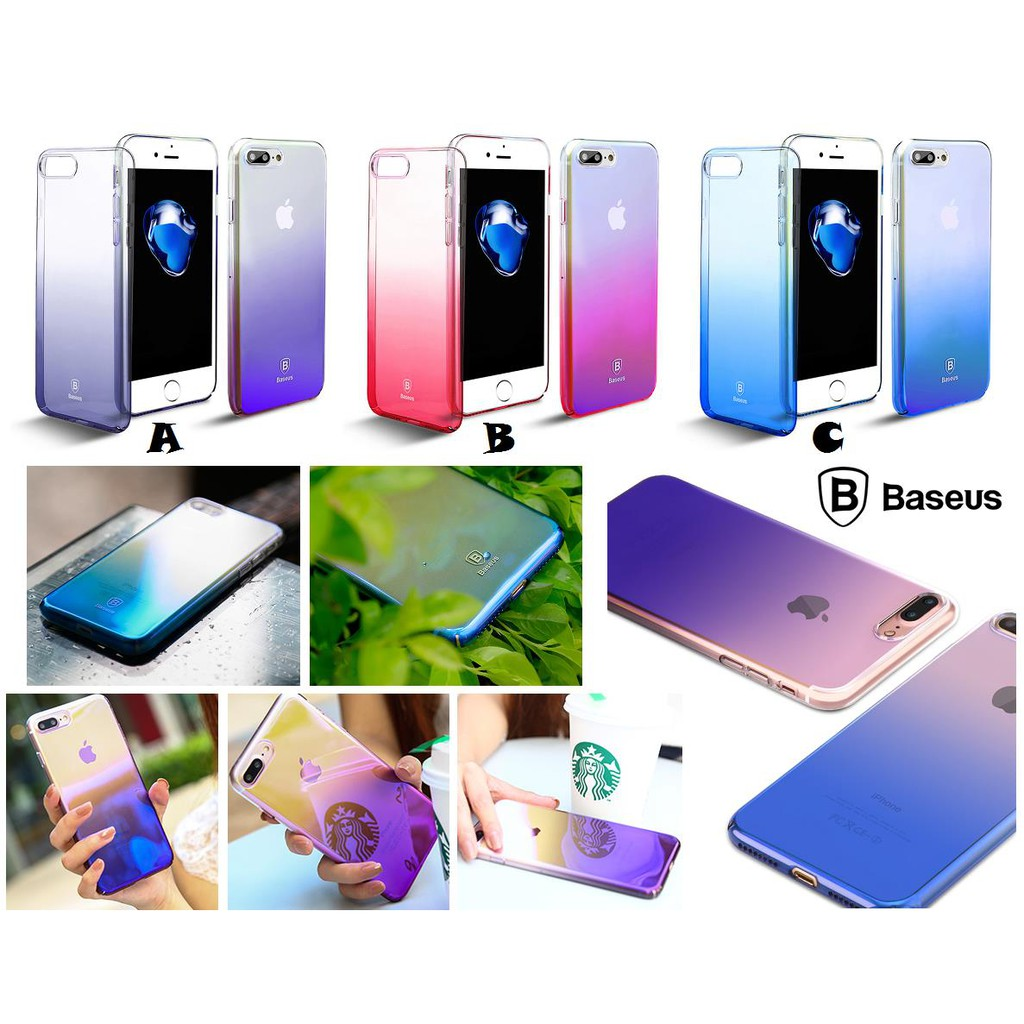 Iphone 7 8 Plus Baseus Glaze Color Transparent Super Slim Case Cover Simple Anti Shock 47 Soft Tpu Shopee Malaysia