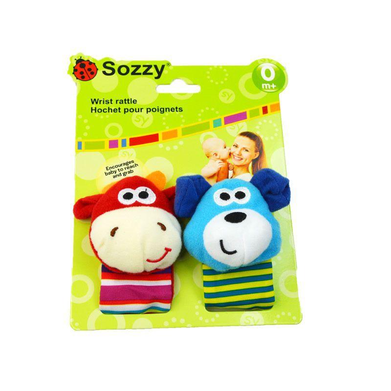 [ READY STOCK ]  Sozzy Cute Cartoon Newborn Baby Rattle Toy Wristband Rattle Strap Soft Plush Jualan Murah Simpanan Sock