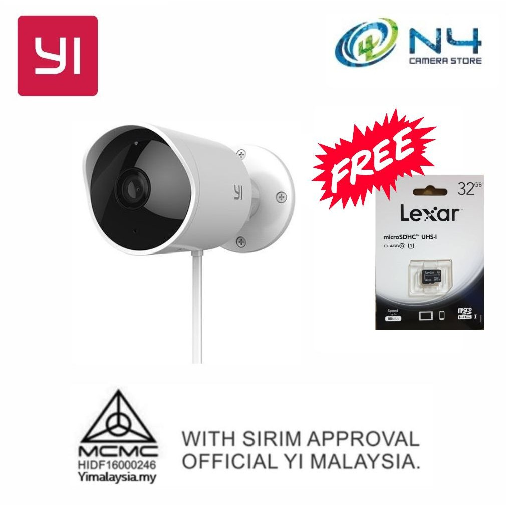 Yi Outdoor Camera 1080P + Micro 32GB Memory Card (Original Yi Malaysia  Warranty + International Version With MCMC)