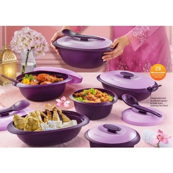 Tupperware Purple Royale Serveware Set (3 or 4pc) with Gift Box/Rice server