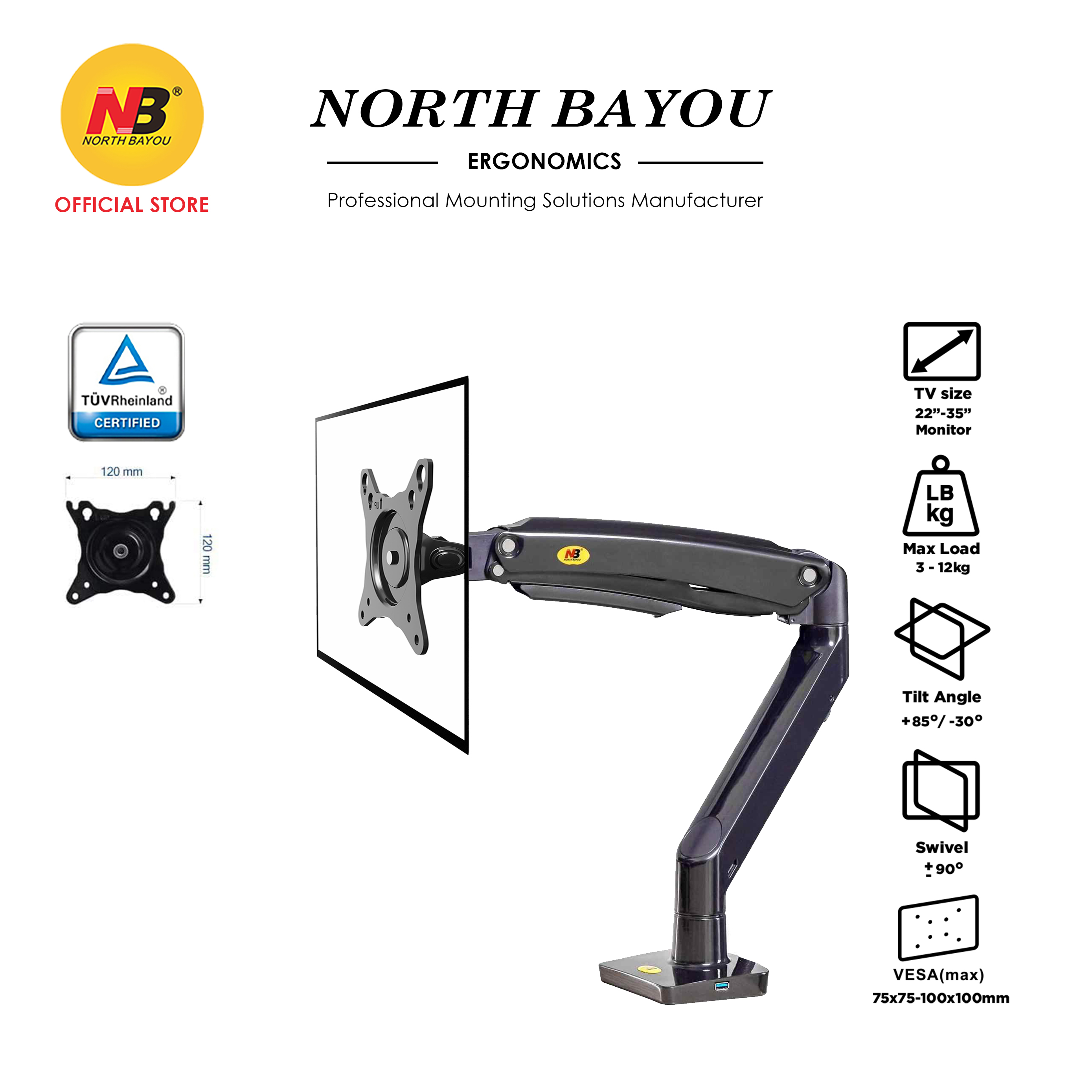 New Version Up to 12kg NB North Bayou F100A 22 to 35 Inch Gas Strut TV Monitor Bracket Holder Mount USB