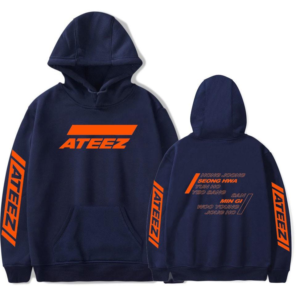 Ateez Print Hoodies Men Popular Sweatshirts Hooded Kpop Sweatshirt Ateez Hoodies Men