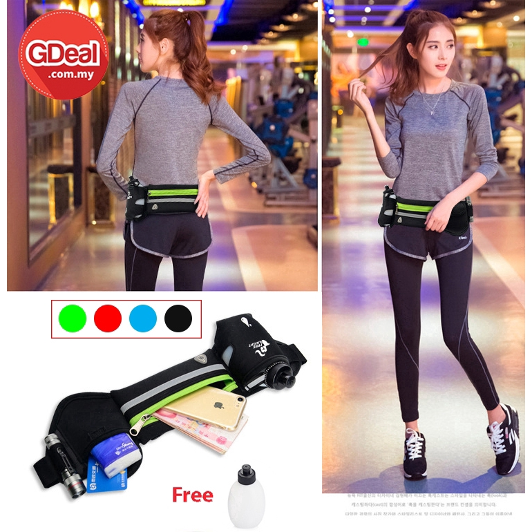 GDeal Multifunctional Running Sports Waist Bag Mini Small Invisible Waterproof Fitness Bag Free 10oz Bottle بيݢ