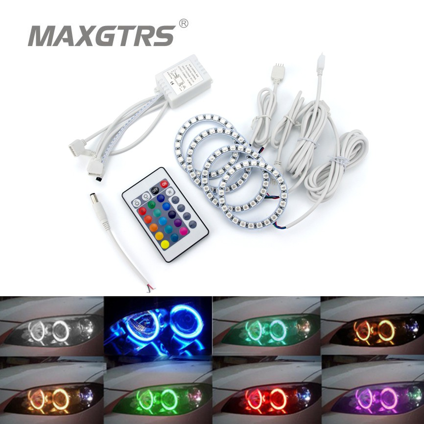 2x 80mm Led Angel Eye Halo Ring Bulb  5050 SMD Headlight With Remote Control