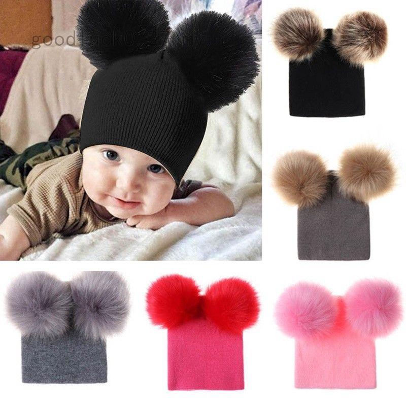 c98d5c67d 1PCNewborn Kids Baby Boy Girl Double Fur Pom Hat Winter Warm Knit ...