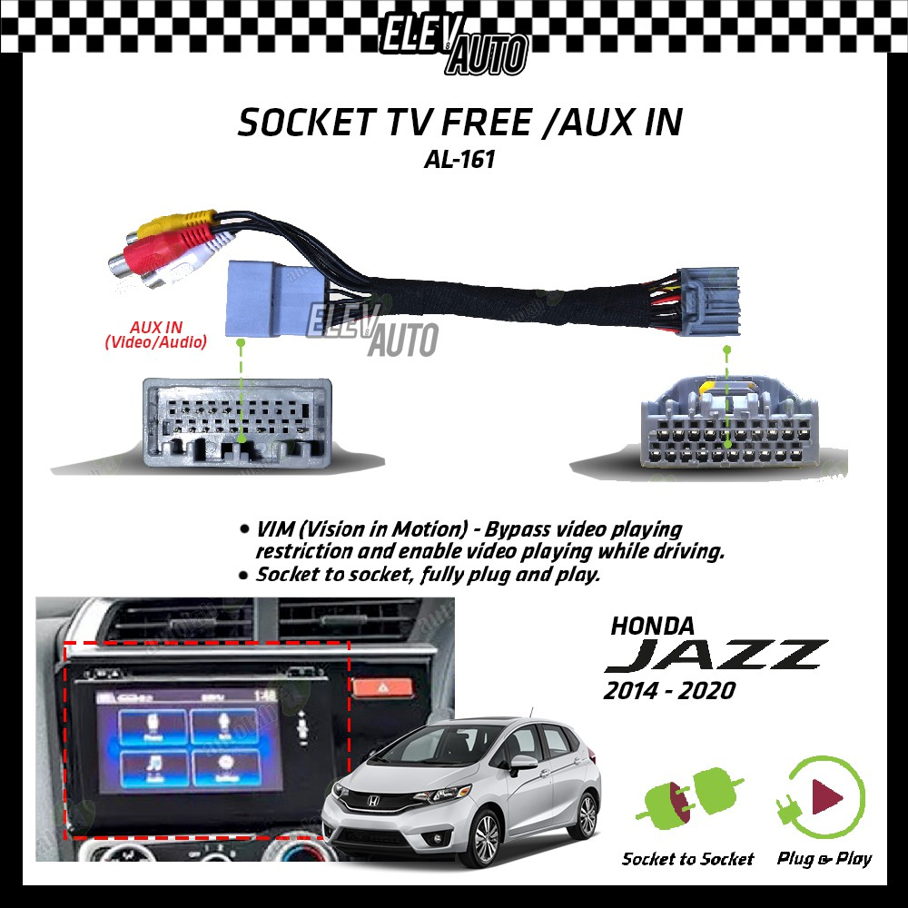 Honda Jazz 2014-2021 Socket TV Free (Bypass VIM) Aux In AL-161