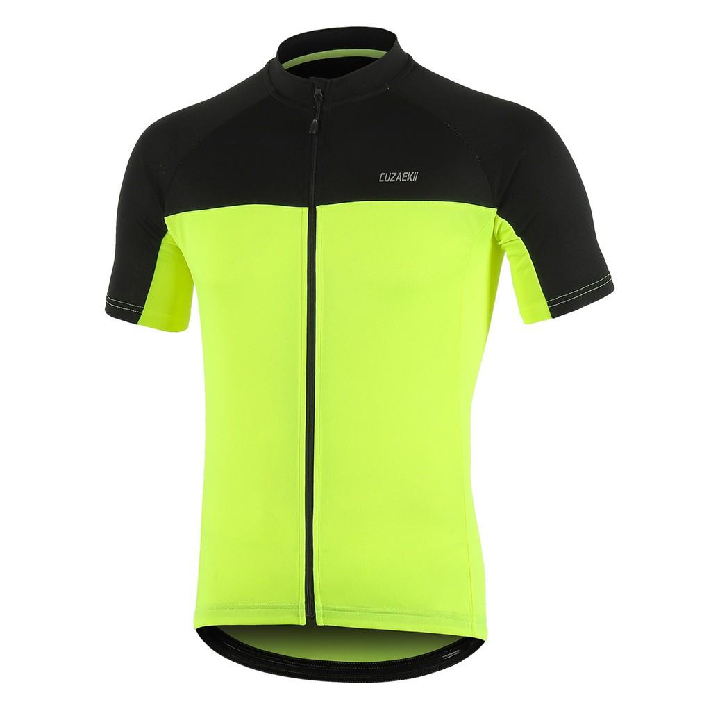 Cuzaekii Men's Summer Short Sleeve Cycling Jersey MTB Racing Clothing Sweatshirt