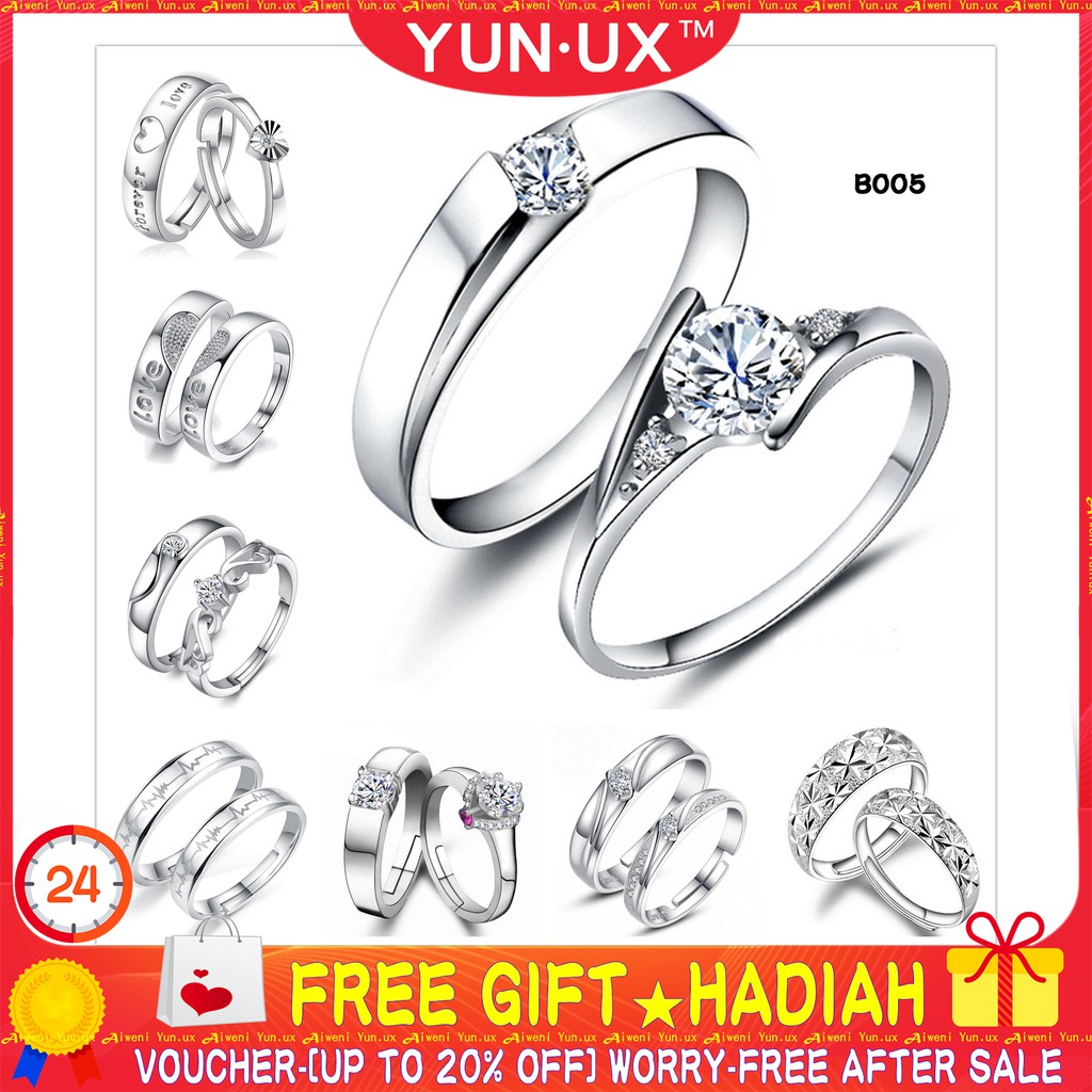 1c4df631664db 🎁 YUN.UX™ Couple Rings S925 Sterling Silver Adjustable Fashion Lovers Ring