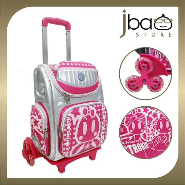 Astrokid 6 Wheels Kid Trolley School Bag Hard Case Backpack (Pink)