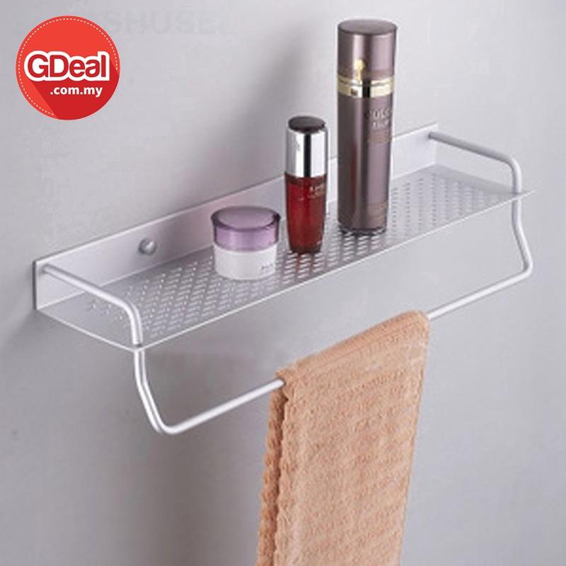GDeal 50CM Bathroom Stainless Steel Storage Rack Single Layer Wall With Towel Hanging Stick Toilet Rak توءيليت راچق