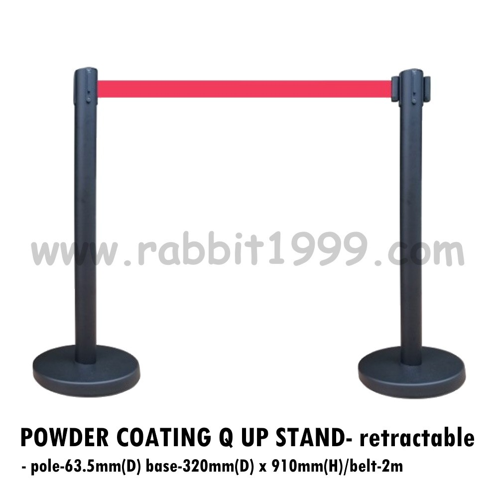 POWDER COATING Q UP STAND- retractable- black queue up stand/black q stand/black retractable belt q up stand/black stand
