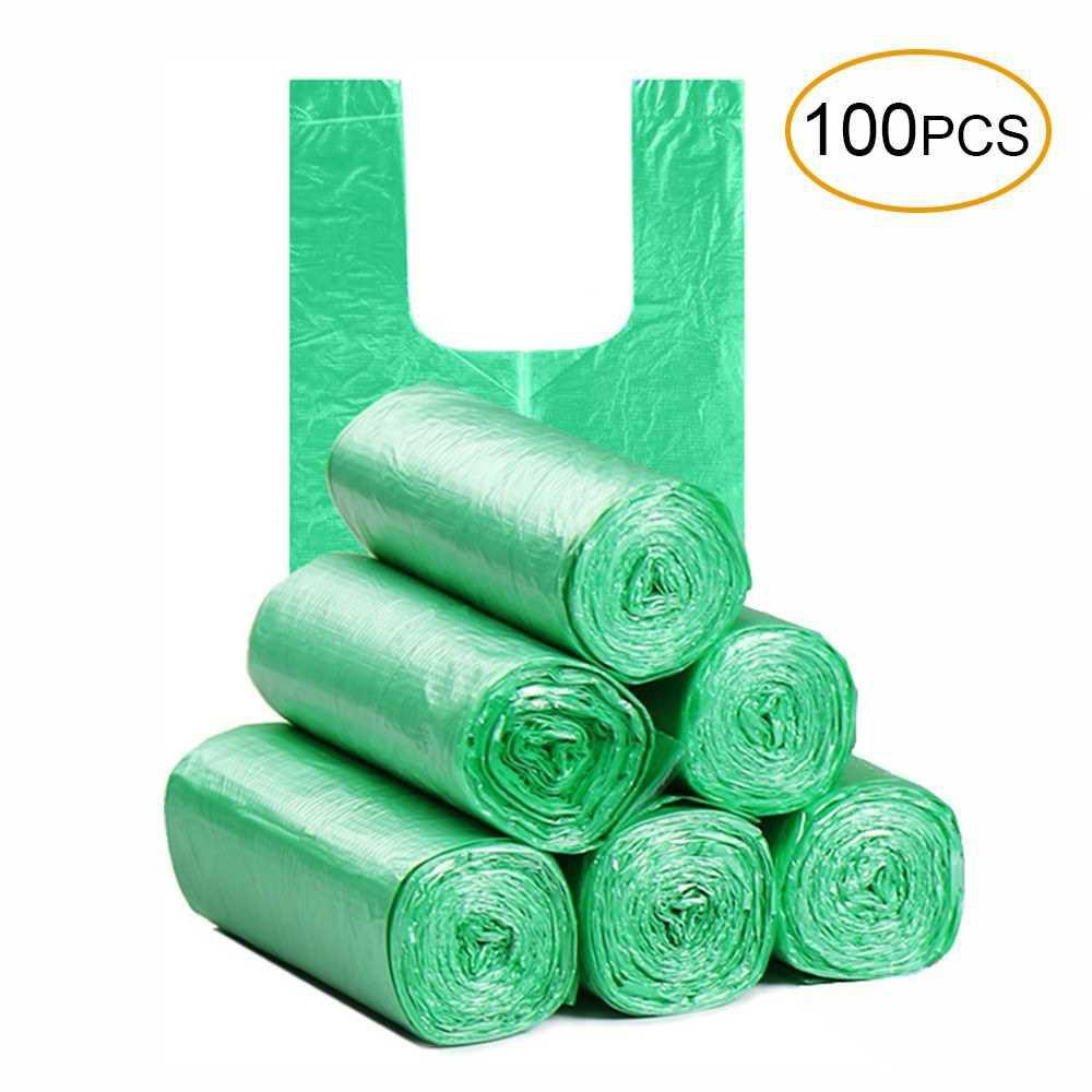 Disposable Thickened Garbage Bag with Handle Tie 100 Pcs Portable Household Heavy Duty Trash Bags (Green)