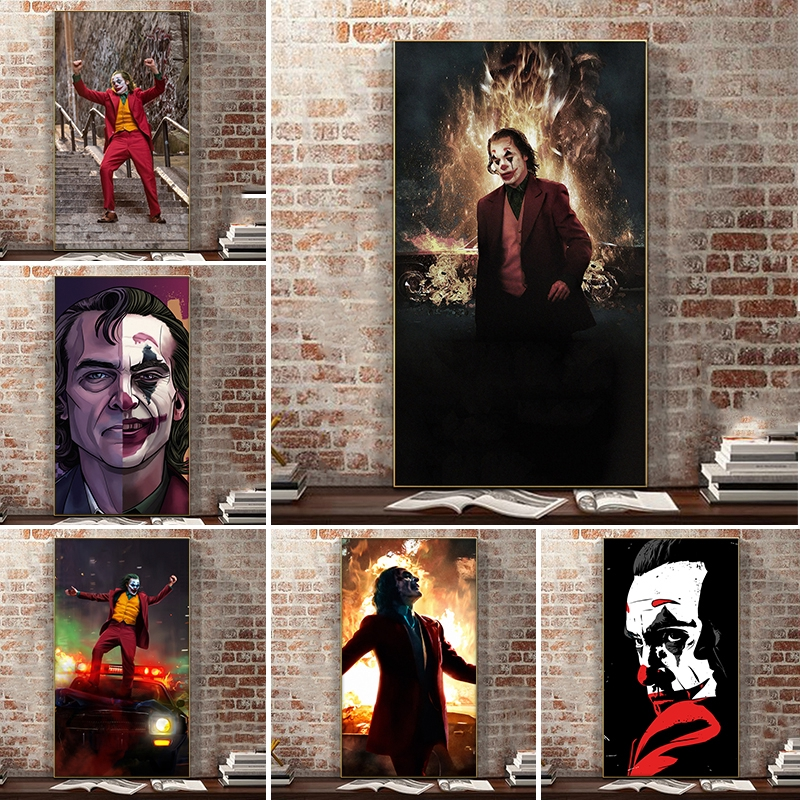 Wall Decoration Movie Portrait Joker Poster And Print Wall Art Canvas Painting Joker Pictures For Living Room Home Decor Shopee Malaysia