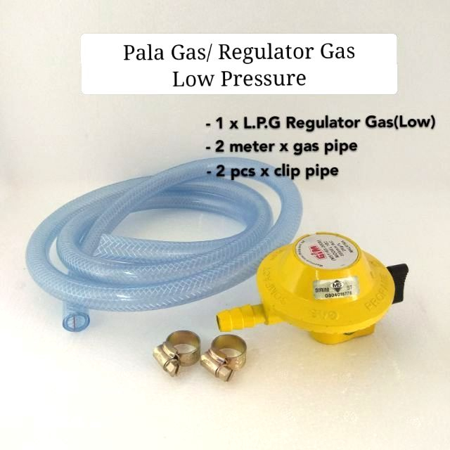 Pala Gas / Regulator Gas Low Pressure With 2 Meter Gas Pipe + 2pcs clip pipe (set)
