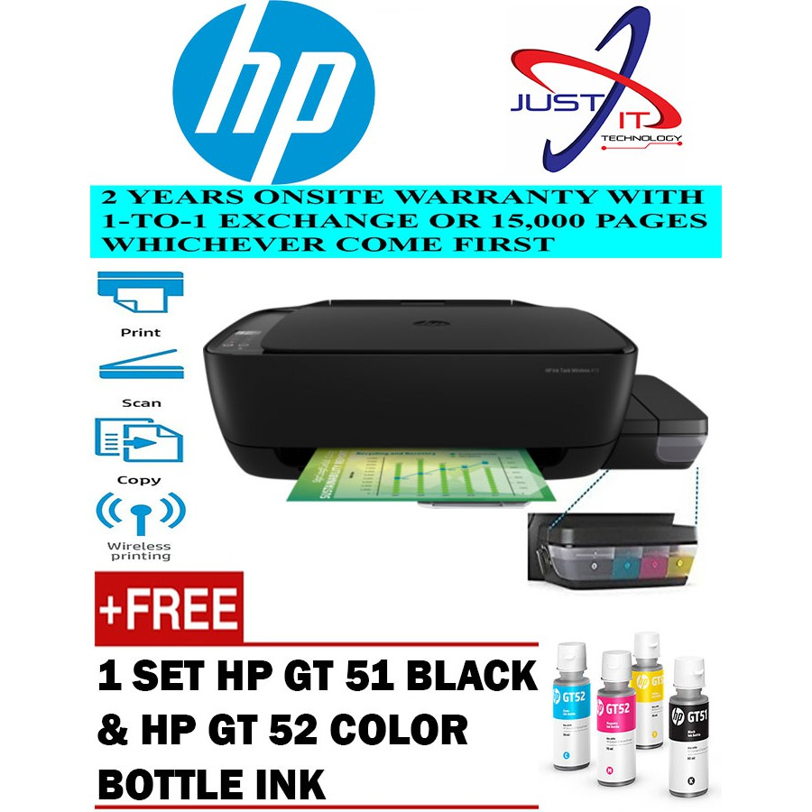 Hp Ink Tank 415 Printer Printscancopywireless Shopee Malaysia Tinta Gt 51 Black Original