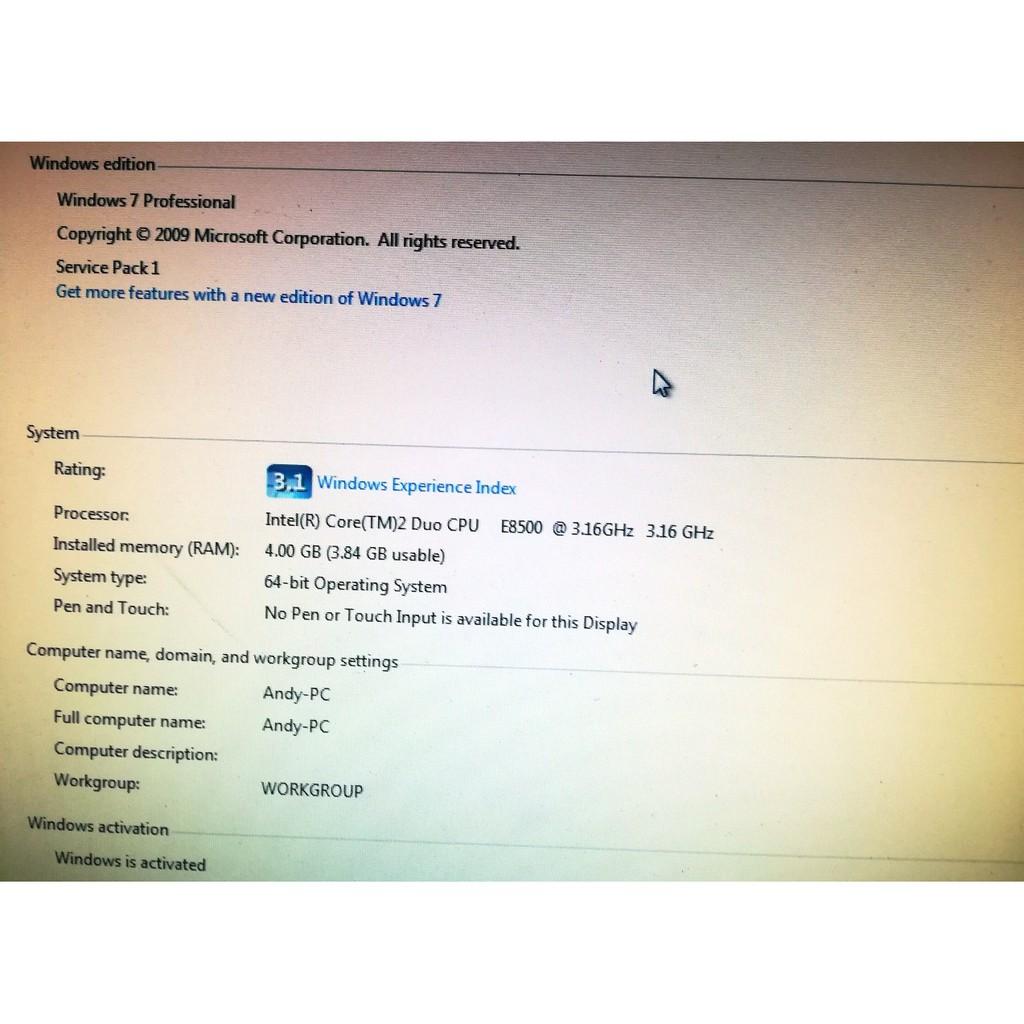 Dell Optiplex 780 SFF/C2D E8500 3 16 GHZ/HDD 500GB/RAM 4GB/W7PRO64