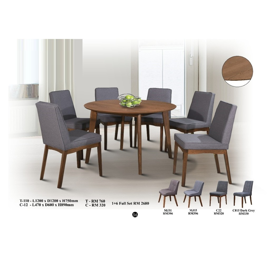 Dining Set 1 6 Dining Table T 110 Dining Chair C 12 Shopee Malaysia