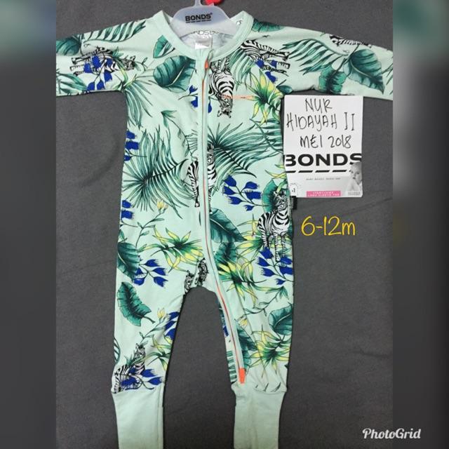 00 For Sale Size 3-6m ~ Bonds ~ White Floral Print Zippy Wondersuit ~ Euc