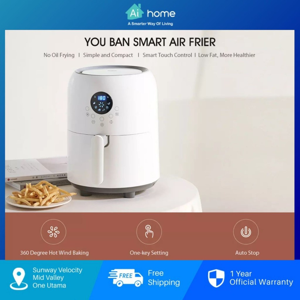 YouBan Smart Air Fryer 2.6L 2208T - Auto Stop   Anti High Temperature   Oil Free   Smart Touch Control [ Aihome ]