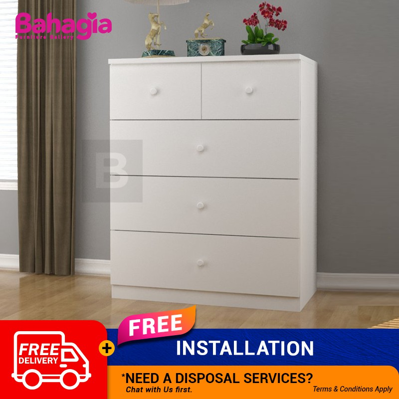Bahagia Arce Chest Drawer White With 5