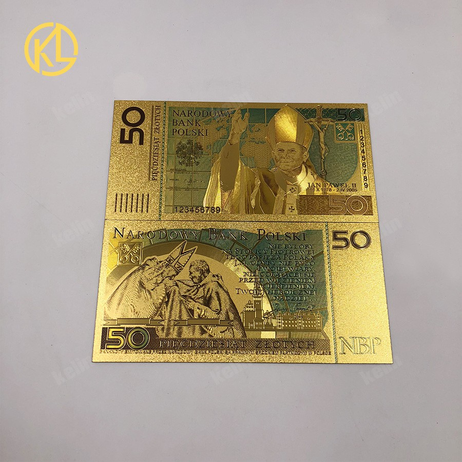 100pc/lot Poland Banknotes Colorful 50 Bill PLN Gold plated Banknotes
