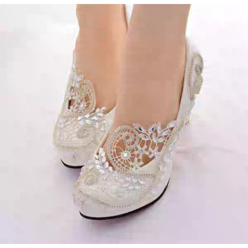 W35 Po White Lace Wedding Shoes Heels Kasut Pengantin Putih Shopee Malaysia