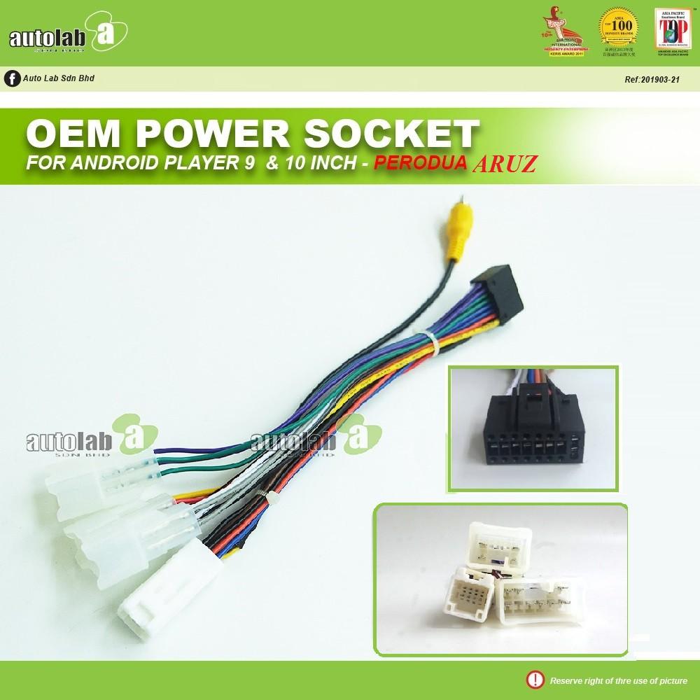 Car Stereo Power Harness Socket Android Player Perodua Aruz