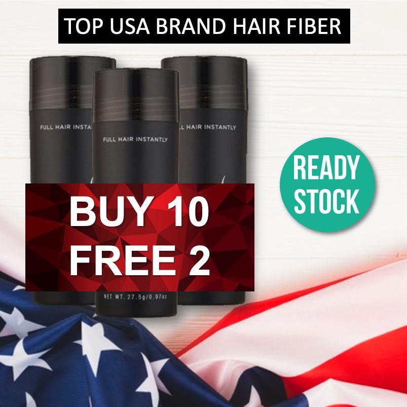 BUY 10 FREE 2 PROMO ( 12 bottles ) Popular US Brand Black Hair Fiber for Instant Hair Loss Serat Rambut Concealer Kerat