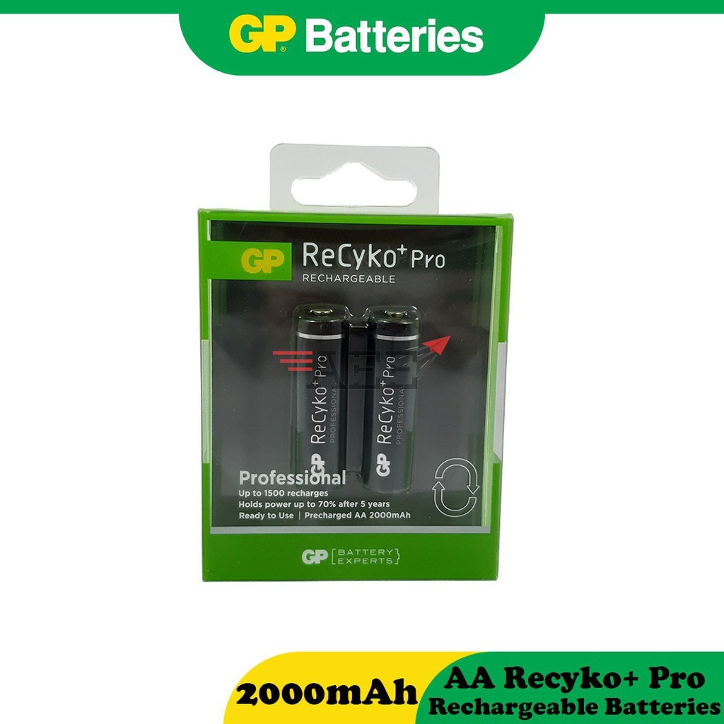 GP Recyko+ Pro Rechargeable Battery - AA (2000mAh x 2pcs)