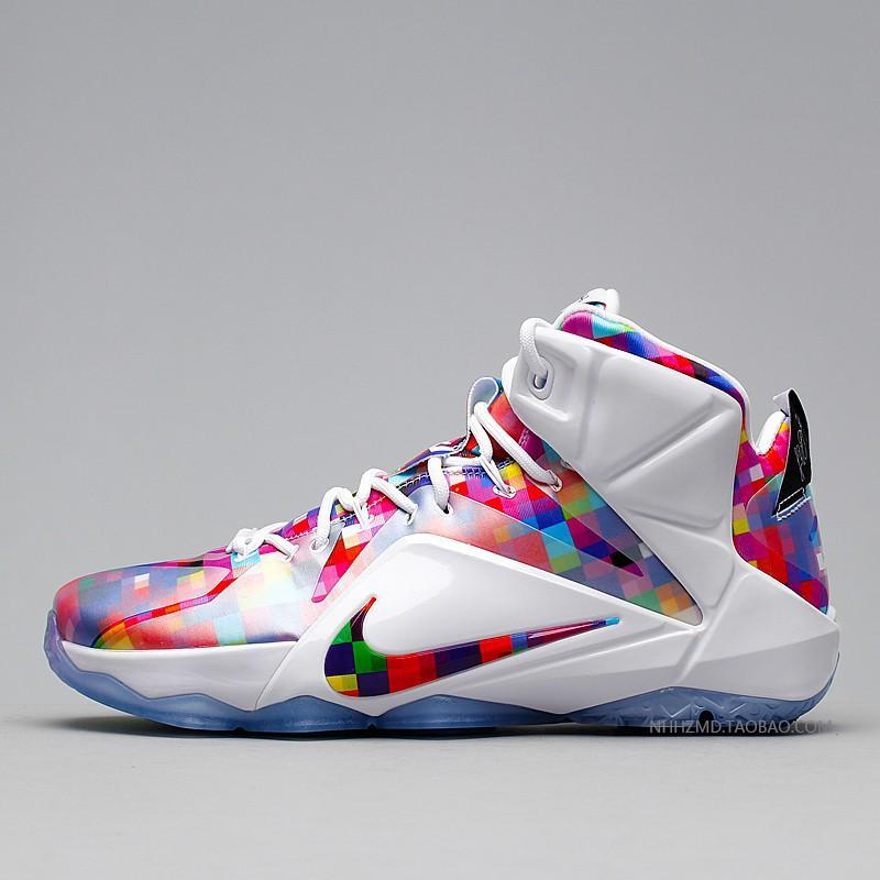 finest selection 1bc8a d71ce 100% original Nike LeBron 12 EXT Prism LBJ12 Multi Prism Rainbow 748861-90  Basketball Shoes