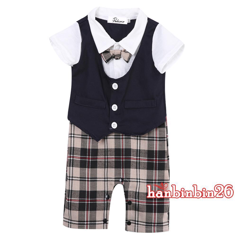 62e33b2dfd0cf S♆-Newborn Toddler Kids Baby Boy Gentleman Jumpsuit Romper Bodysuit Outfits