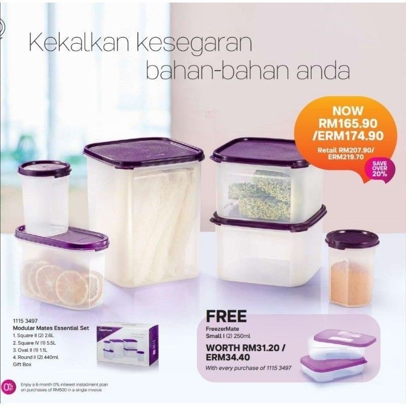🔥READY STOCK Tupperware Modular Mates Essential Set (8pcs) with Gift Box / MM Essential