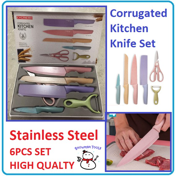 HIGH QUALITY 6 In 1 Evcrierh Corrugated knife Kitchen Pisau Dapur KITCHEN KNIVES 厨房刀剪刀 SCISSOR Colourful Stainless Steel