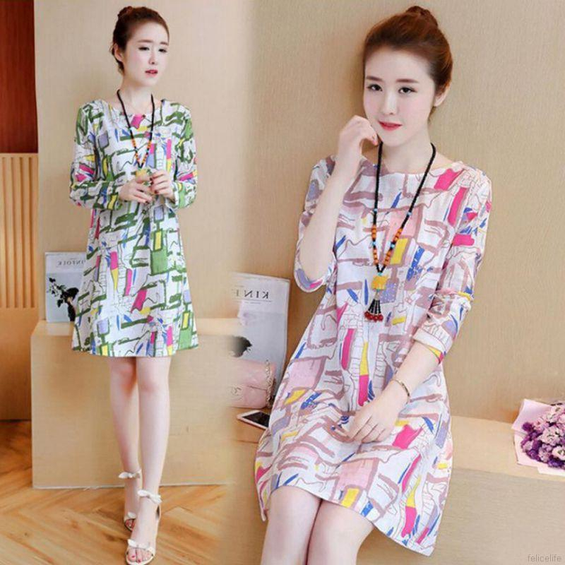 076aec23f7cca Women Sexy Long Sleeve Round Neck Loose Casual Contrast Pattern Printed  Dress