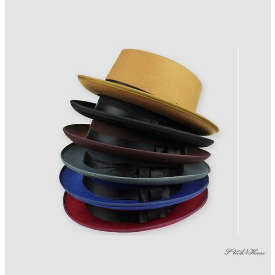 7a1bc3fe3 ♨♨-Hard Felt Band Pork Pie Fedora Trilby Sailor Boater Hats ...