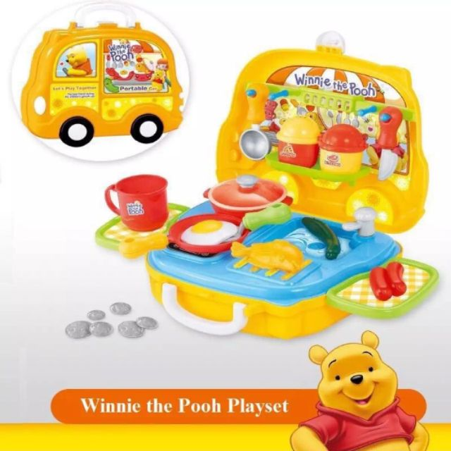 Cartoon Winnie The Pooh Portable Suitcase Kitchen Cooking Role Play Playset Pretend Play Shopee Malaysia