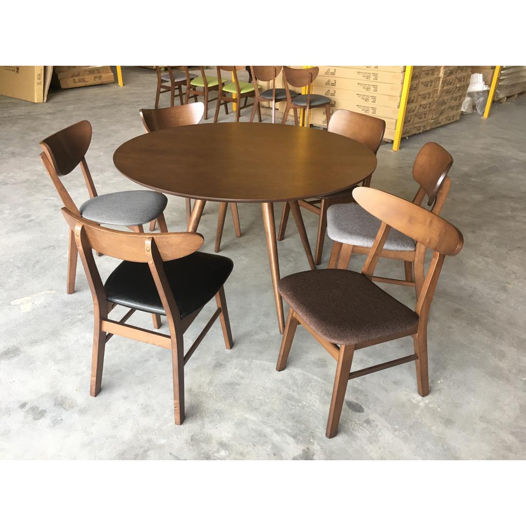 R1 6 Gf 03 Brownish Grey Round Dining Room Set Shopee Malaysia