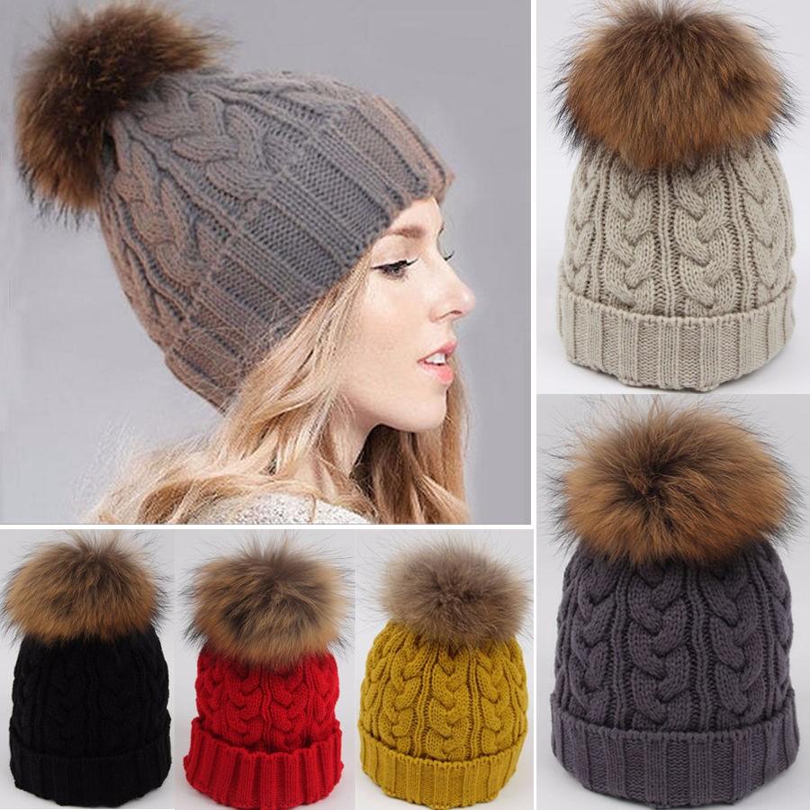 5b60a31f9 Women Ladies Winter Warm Knitted Raccoon Real Fur Pom Beanie Bobble Ski Hat