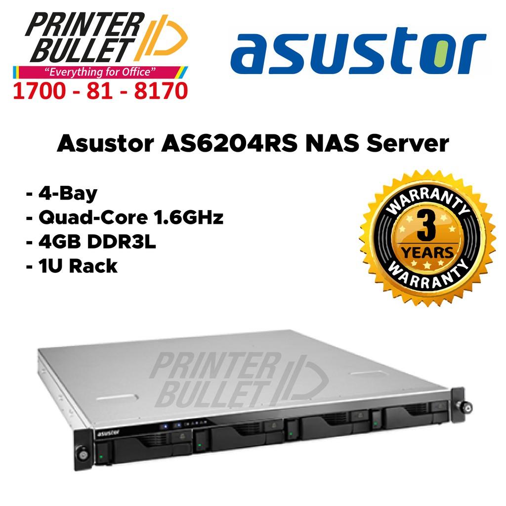Asustor AS6204RS NAS Server (4-Bay, Quad-Core 1.6GHz, 4GB DDR3L, 1U Rack)