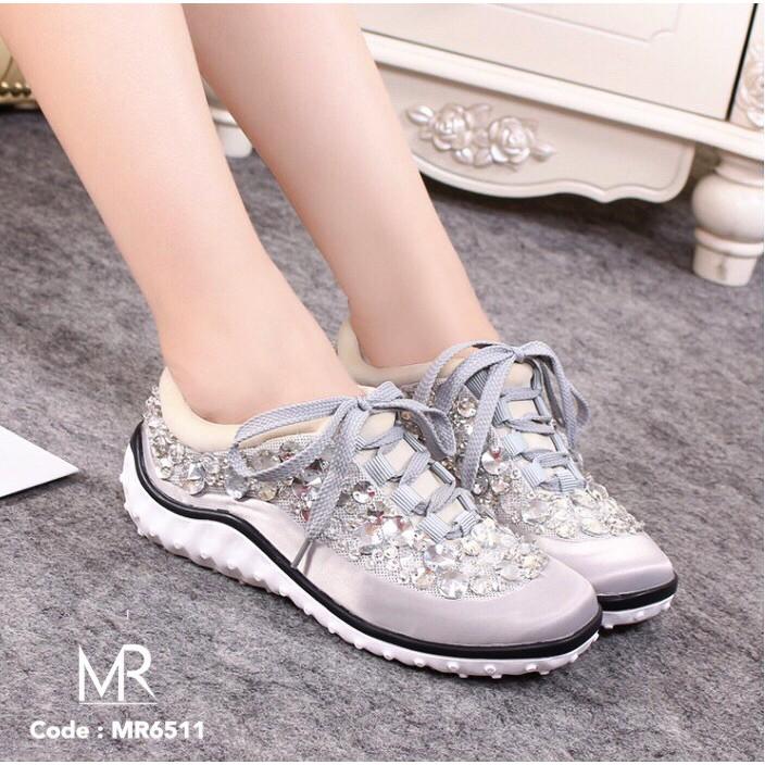 Meritshoes 6811 silver รองเท้าผ้าใบเกรด premium ปักเลื่อมงาน