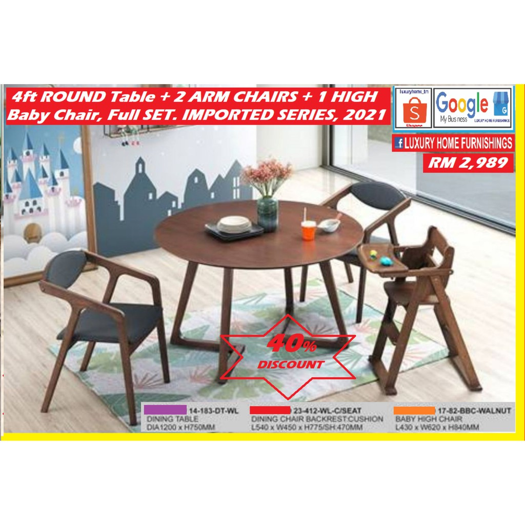 4ft ROUND DINNING TABLE + 2 DESIGNER CHAIRS WITH ARM RESTS + 1 BABY CHAIR,  FULL SET, 1 +6, IMPORTED DESIGNER SERIES