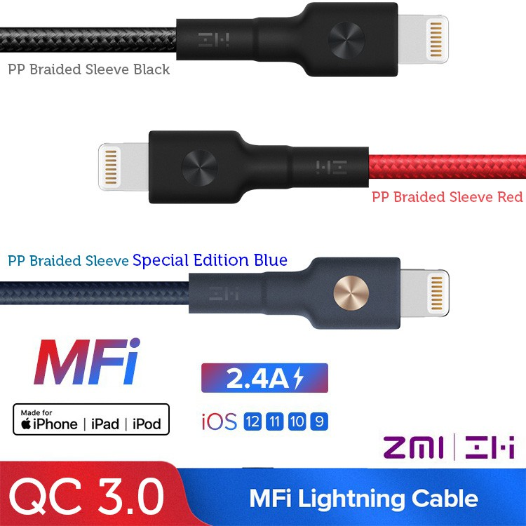 ZMI Original Lightning to USB Cable,PP Braided Sleeve, Apple MFi Certified