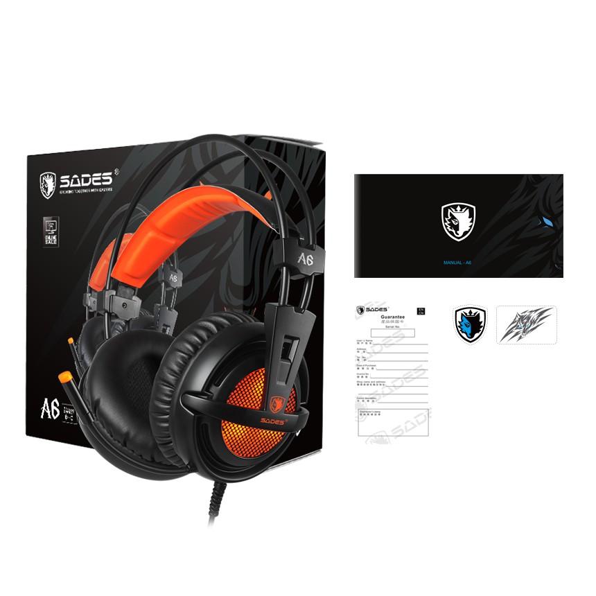 {SD-A6} Sades A6 Virtual 7.1 Surround Sound Gaming Headset - PS4/ PS5,NS,PC (Orange/Pink)