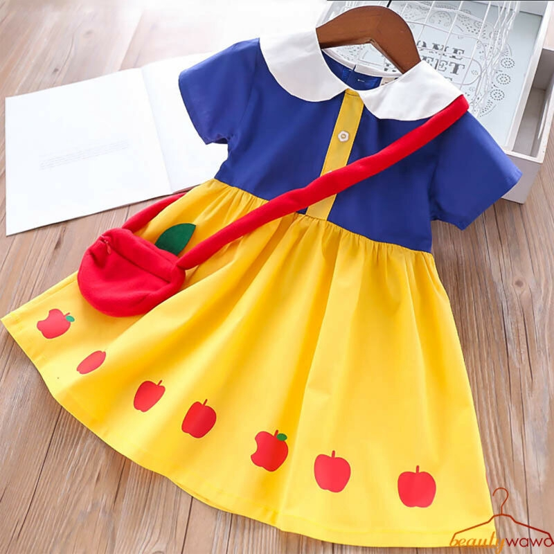 d07b3df683b09 ✿WA✿ Kids Girls Summer Dress Snow White Princess Costume Doll Collar Short  Sleeves School